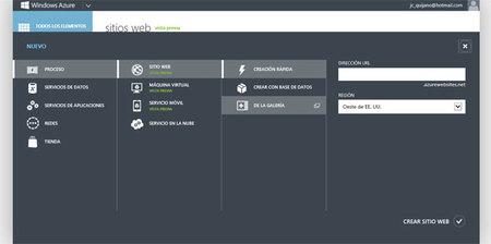 Hablando de Azure, creando un nuevo sitio