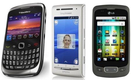 Precios con Movistar de la Blackberry Curve 3G, LG Optimus One y SE XPERIA X8