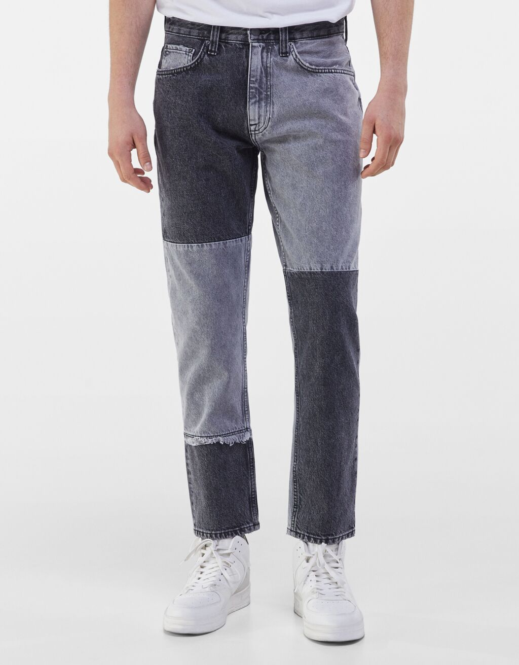 Jeans a dos tonos con parches