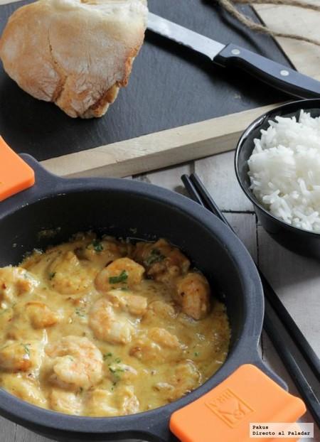 Langostinos con crema de cacahuetes al curry