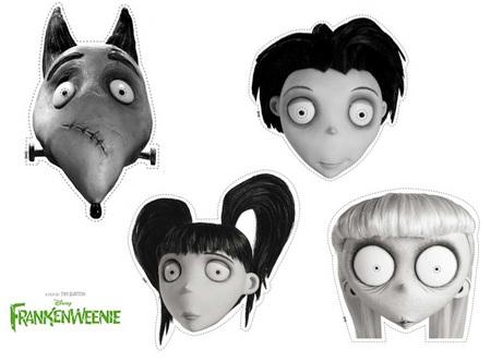 Máscaras de Frankenweenie para imprimir en Halloween