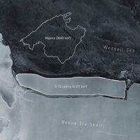 El iceberg más grande que conocemos acaba de desprenderse de la Antártida, tiene el tamaño de Mallorca y ahora flota por el océano