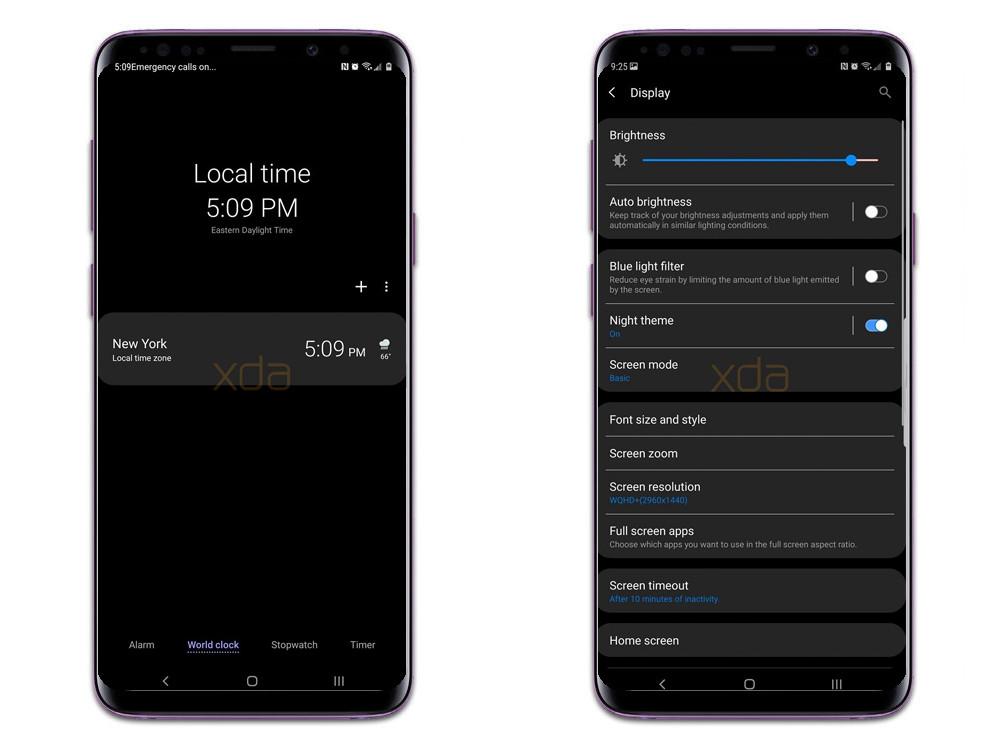 El tema oscuro del Samsung® Galaxy™ S9 con Android-OS Pie se deja visualizar previamente de asamblea