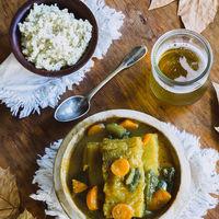Pescado al curry con verduras. Receta saludable y deliciosa