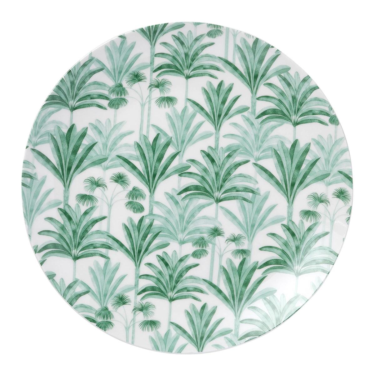 Plato de porcelana con palmeras pintadas a mano