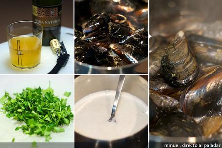 Mejillones a la sidra - elaboración