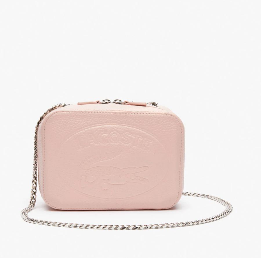 Bandolera mini de mujer Lacoste de piel en rosa con logotipo grabado