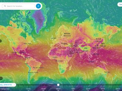 Hipnotízate viendo la temperatura, viento, olas y muchas más condiciones meteorológicas en todo el mundo