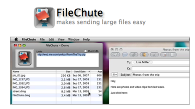 FileChute para enviar archivos grandes por correo vinculados a MobileMe