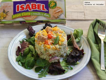 Ensalada de atún claro Isabel con arroz y mayonesa de aguacate