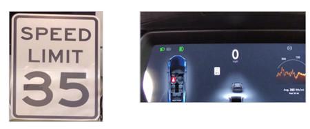A la izquierda, la señal modificada con un trozo de cinta. A la derecha, el HUD de Tesla mostrando una lectura errónea