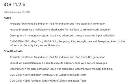 Seguridad iOS 11.2.5