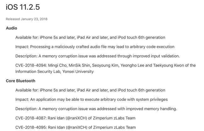 Seguridad iOS™ 11.2.5
