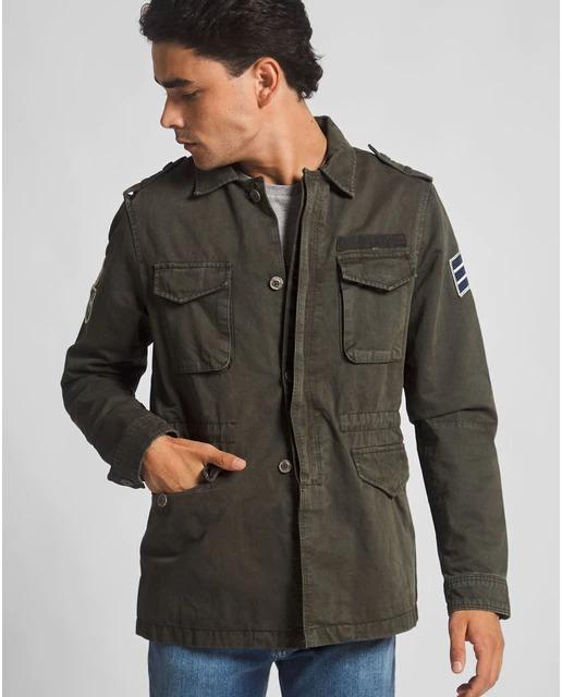 Chaqueta de hombre estilo militar en color verde oscuro