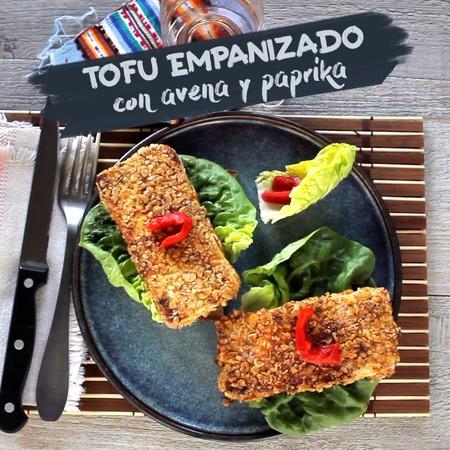Tofu empanizado con avena y paprika. Receta en video fácil y deliciosa