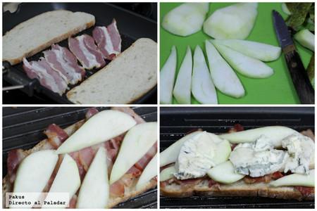 sandwich pera gorgonzola bacon pasos