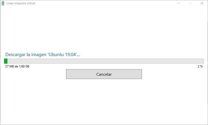 Proceso de descarga de Ubuntu desde Hyper-V en Windows