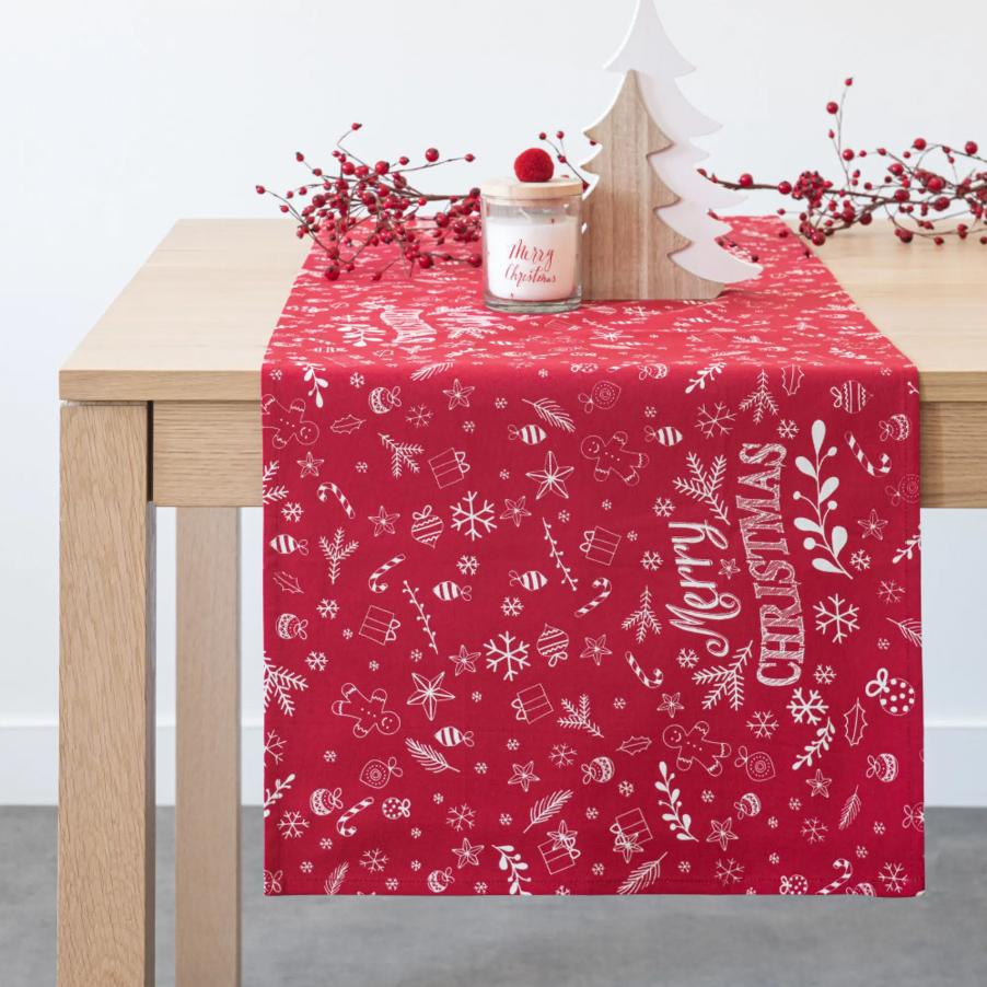 Camino de mesa navideño de algodón rojo y blanco con estampado de papel de regalo 48x150