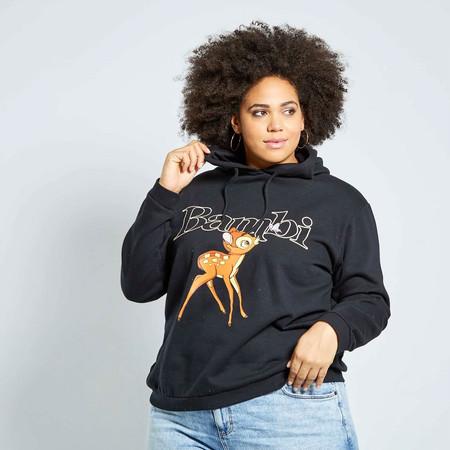 Kiabi Sudadera Con Capucha Bambi Negra Tallas Grandes Mujer Pvp 18eur