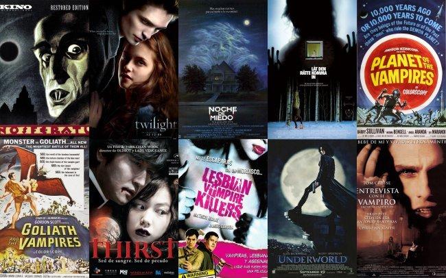 Carteles de algunas conocidas películas sobre vampiros
