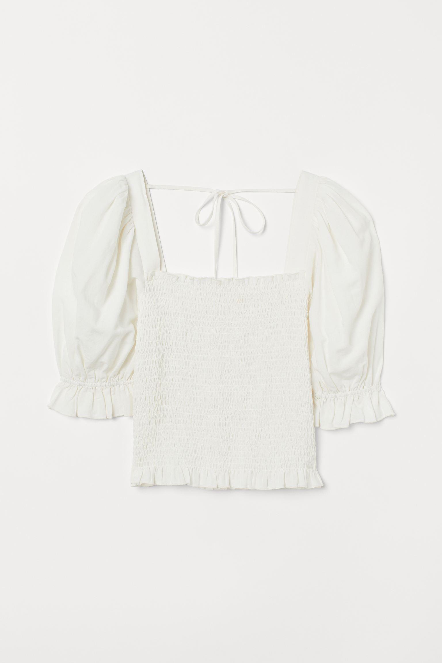Blusa fruncida con manga puffy
