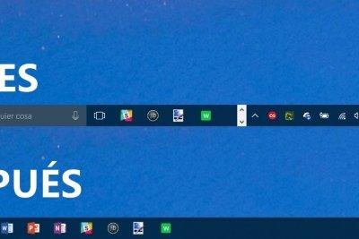 Cómo ganar espacio en la barra de tareas de Windows 10 ocultando opciones que no usas