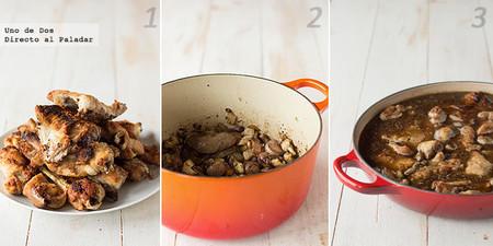Receta de conejo guisado al brandy con shiitake paso a paso