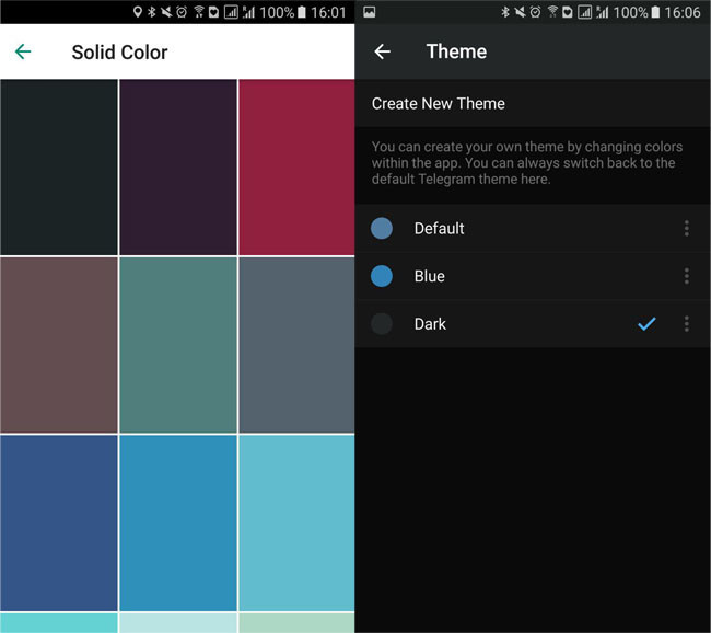 WhatsApp color picker and dark Telegram theme