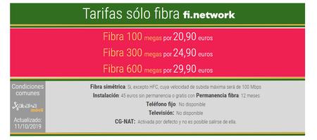 Nuevas Tarifas De Fibra Fi Network Octubre 2019
