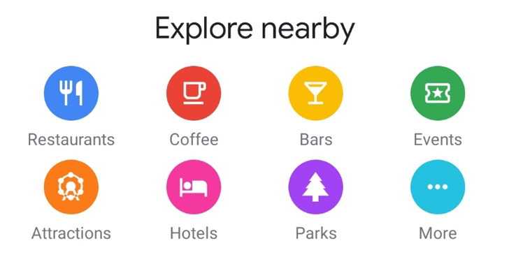 Google Maps test new icons in the tab Explore to find hotels, parks and more nearby locations