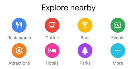 Google Maps prueba nuevos iconos en la pestaña Explorar para encontrar hoteles, parques y más lugares cercanos