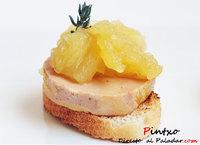 Aperitivo de foie y compota de manzana. Receta
