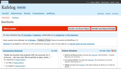 La imagen de la semana, Wordpress 2.5