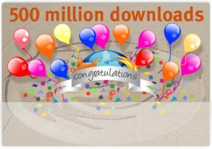 Firefox ya ha alcanzado más de 500 millones de descargas