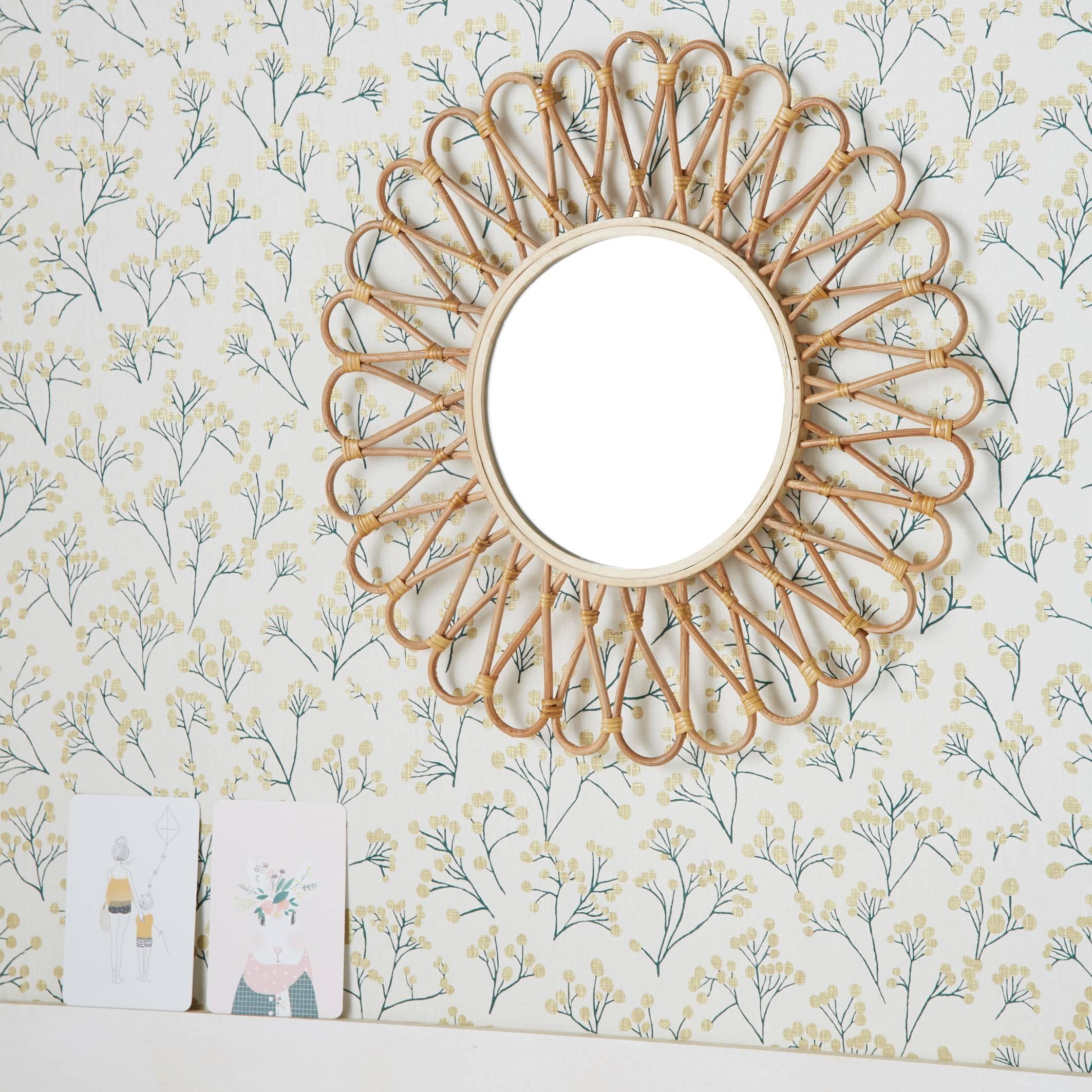 Espejo de ratán y bambú