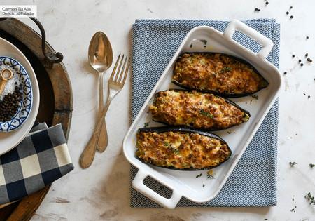 Berenjenas rellenas de soja, receta ligera, fácil y resultona