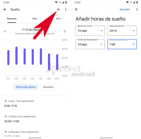 Google Fit Registrar sueño