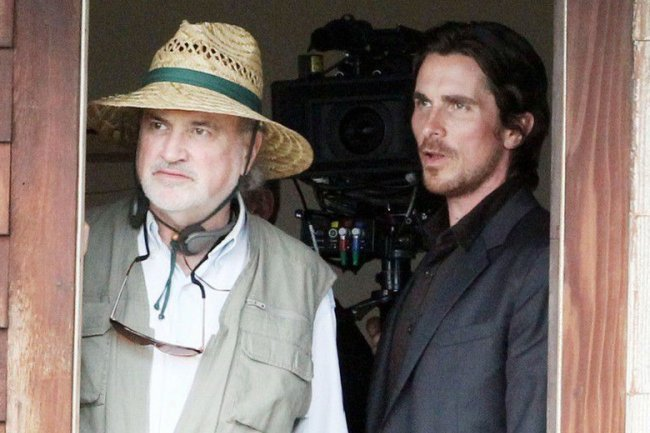 Terrence Malick y Christian Bale durante el rodaje de Knight of Cups