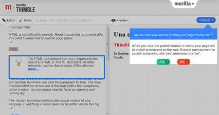 Mozilla Thimble, publicar
