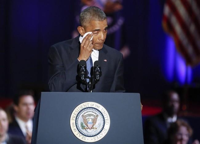Obama durante el discurso de despedida