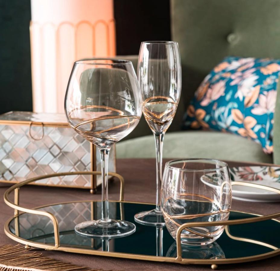 Vaso de vidrio con espirales y ribete dorados (lote de 6 piezas)