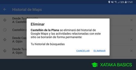 Cómo borrar el historial de búsquedas y de ubicaciones en Google Maps