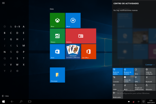 Modo tablet Windows 10