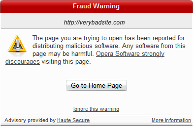 Opera 9.5 con protección antimalware