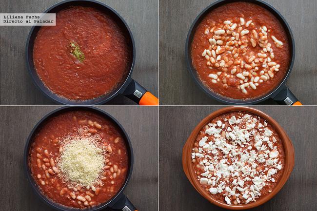 Alubias al horno con salsa de tomate, cuscús y queso feta. Pasos