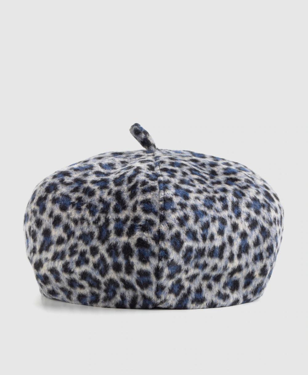 Boina de mujer El Corte Inglés en gris con estampado leopardo
