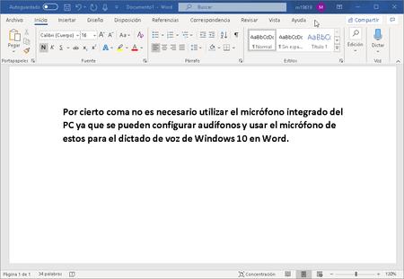 Dictado Voz Windows 10 Word