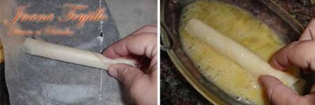 Preparación de queso frito en camisa