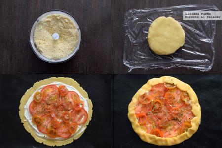 Tarta salada de tomates con crema de queso y mostaza. Pasos