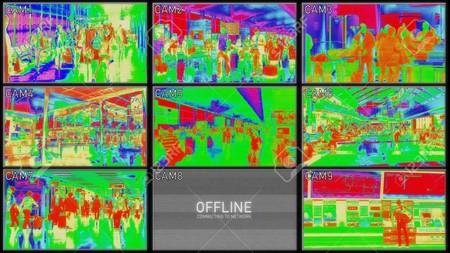 90837571 Sistema De Camara Termografica De Aeropuerto Comprobando El Concepto De Sistema De Seguridad De Camara Multipl